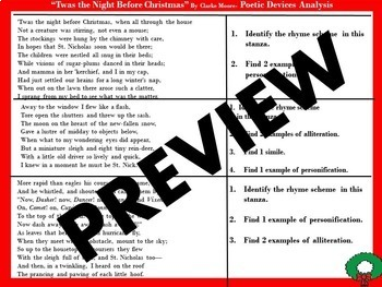 """Figurative Language Review/Analysis of """"Twas the Night Before Christmas"""""""