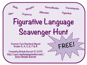 Figurative Language Scavenger Hunt (Common Core Aligned)