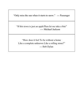 Figurative Language Scavenger Hunt using Popular Song Lyrics