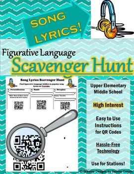 Figurative Language Scavenger Hunt W Song Lyrics Qr Codes Station Poetry