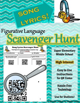 Figurative Language Scavenger Hunt w/ Song Lyrics QR CODES