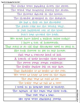 Figurative Language Sentence Sort