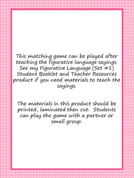 Second Grade Sayings and Phrases (Core Knowledge) Matching Game