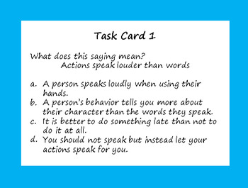 Third Grade Sayings and Phrases (Core Knowledge)  Task Cards