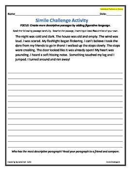 Figurative Language: Simile Challenge Activity (Individual, partners, group)