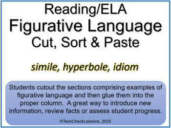 Figurative Language (Simile, Hyperbole, Idiom) Cut, Sort & Paste