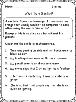 Figurative Language: Similes, Metaphors, Personification, Idioms...
