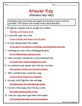 Figurative Language - Similies and their Meaning