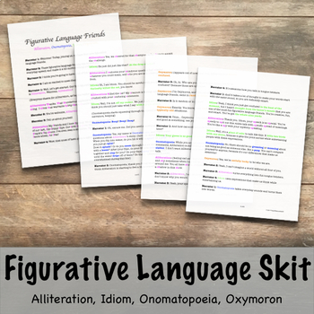 Figurative Language Skit- Alliteration, Idiom, Onomatopoeia, Oxymoron