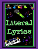 Figurative Language Song Lyrics Literal and Non-Literal Graphic Organizer