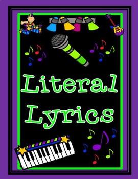 Figurative Language Song Lyrics Literal and Non-Literal Graphic Organizer