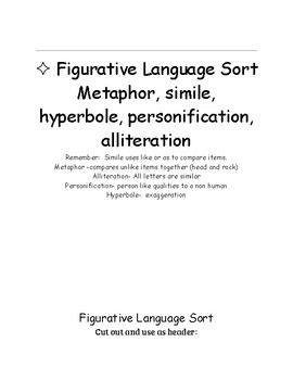 Figurative Language Sort Fun Easy and Interactive ELA