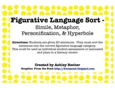 Figurative Language Sort - Simile, Metaphor, Personification, & Hyperbole