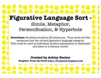 Figurative Language Sort - Simile, Metaphor, Personification, & Hyperbole