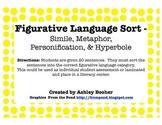 Figurative Language Sort - Simile, Metaphor, Personificati