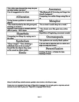 Figurative Language Sort and Match Game