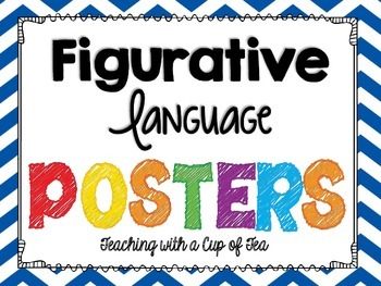 Figurative Language Sort with Posters & foldables (Chevron edition)