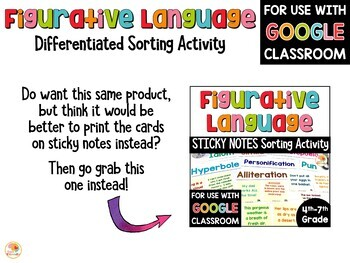 Figurative Language Sort - Differentiated Activity