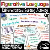Figurative Language Sort:  Over 200 Cards Sorting Activity w/ Digital Option