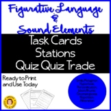 Figurative Language and Sound Elements - Task Cards,Quiz Q