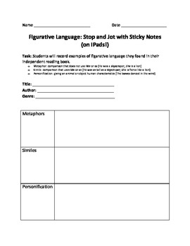 Figurative Language: Stop and Jot with Sticky Notes (on iPads!)