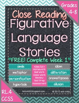 Figurative Language Stories for Close Reading ~ FREE Complete Week 1!