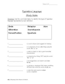 Figurative Language- Study Guide