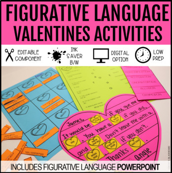 Figurative Language Valentines All Inclusive Lesson: powerpoint, worksheet +more