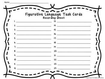 Figurative Language Task Cards {24 Multiple-Choice Task Cards}