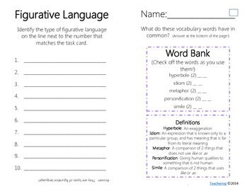 Figurative Language Task Cards {with PHOTOS} Differentiated