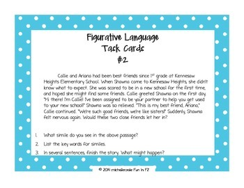 Figurative Language Task Card & Poster Set