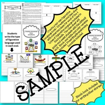 Figurative Language Task Cards or Scoot with Similes, Metaphors, and Bonus Book
