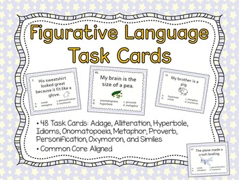Figurative Language Task Cards : 48 Task Cards