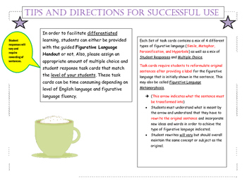 Figurative Language Task Cards- A Metamorphosis via Flash Cards