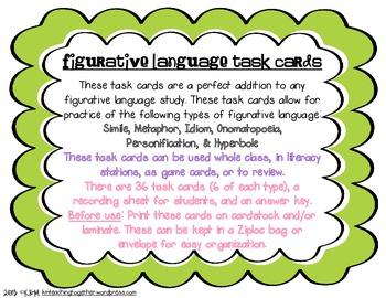Figurative Language Task Cards - CCSS Aligned
