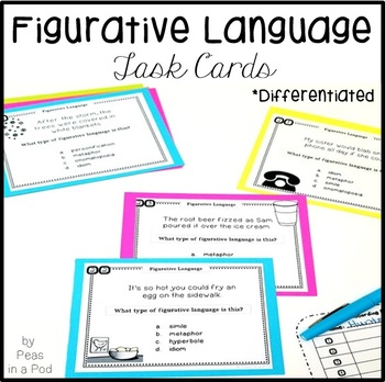 Figurative Language Task Cards | Figurative Language Activities 4th 5th 6th 7th