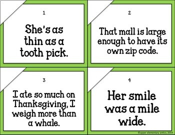 Figurative Language Task Cards Hyperbole