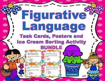 Figurative Language - Task Cards - Ice Cream Sort GAME - BUNDLE