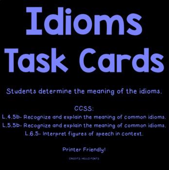 Figurative Language Task Cards- Idioms