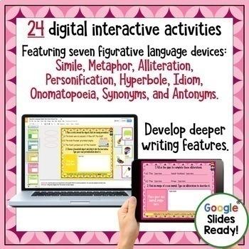 Figurative Language Task Cards PLUS Digital Task Cards BUNDLE