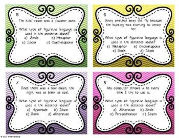 Figurative Language Task Cards - Set of 32 task cards