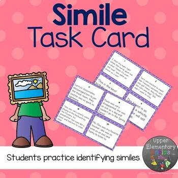 Figurative Language Task Cards Simile