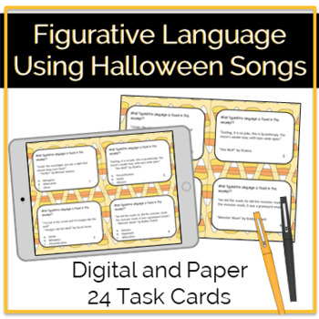 Figurative Language Task Cards Using Halloween Songs