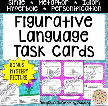 Figurative Language Task Cards and Mystery Picture - Identify and Interpret!