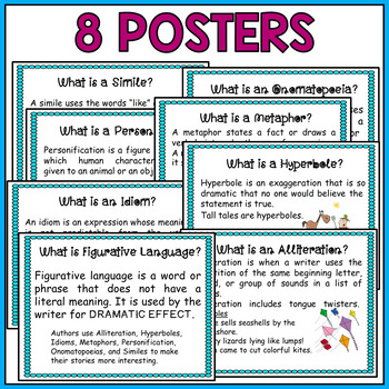 Figurative Language Task Cards and Posters