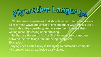 Figurative Language Task Card Powerpoint for Daily 5 Stations and DIY for PBL