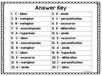 Figurative Language Task Cards with QR Codes Common Core Aligned Grades 3 to 5