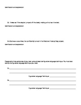 Figurative Language Techniques Quiz & Assignment
