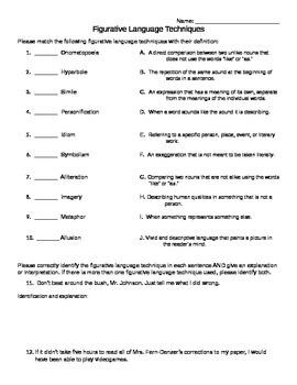 Figurative Language Techniques Quiz & Assignment