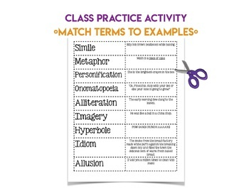 Figurative Language Terms Mini Lesson Notes & Activities Middle School RL 4
